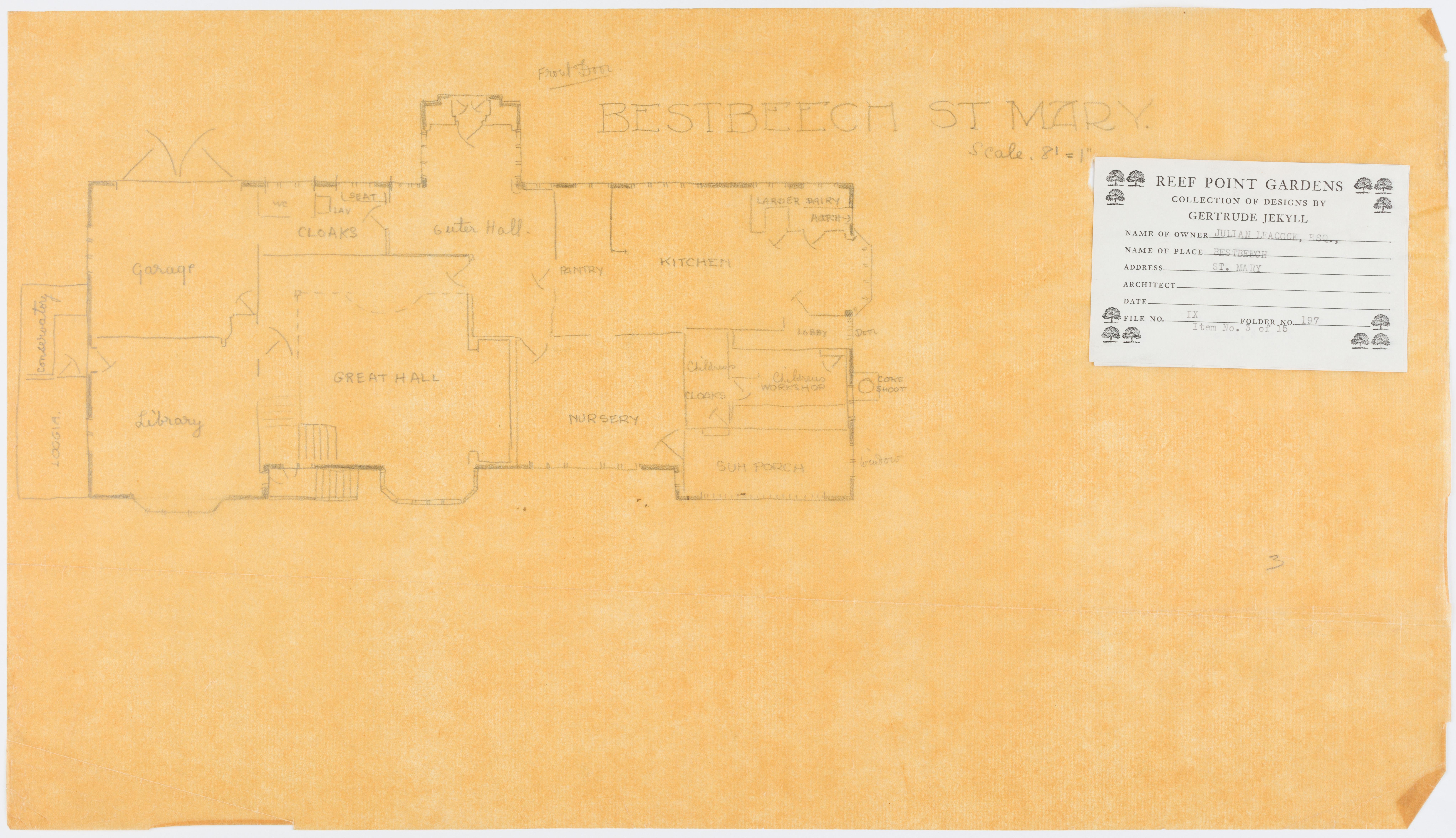 Floor plan of Bestbeech St Mary, c. 1927, Harold Turner, Architect