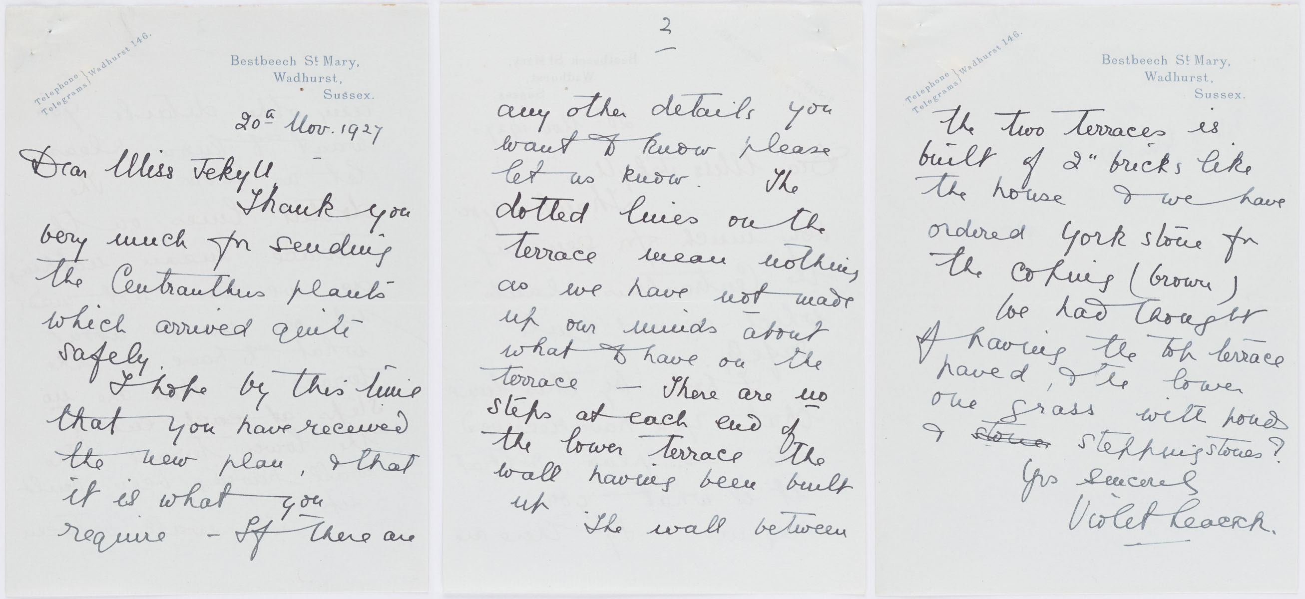 Pages 1-3, Letter to Gertrude Jekyll from Violet Leacock, regarding the gardens at Bestbeech St. Mary, of November 20, 1927