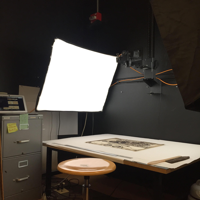 Environmental Design Archives digitization studio copy stand